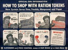 """This poster explained how to use red and blue ration tokens, which were given as """"change"""" for ration stamps, and could be used to supplement stamps to pay for rationed goods."""