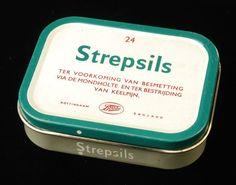 Strepsils - Blik met klem-deksel - Boots Nottingham England - importeur Bergerac Den Haag - ter bestrijding van keelpijn - 1958 / 1971