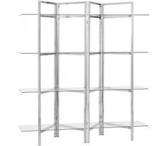Coaster Contemporary Bookcase with Open Glass Shelves in Chrome