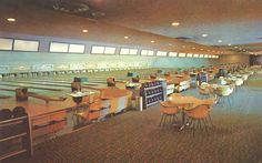 """A rare photo of """"River Bowl,"""" which became """"Brunswick Bowling"""" and is now the Whole Foods on River Road. This photo was taken in the mid 1970s. Never bowled there but pumped a lot of quarters into the Captain Fantastic pinball machine and Star Trek video game."""
