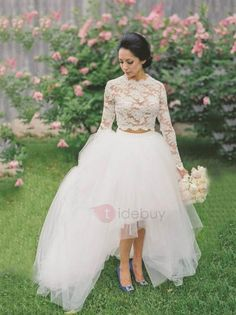 #AdoreWe TideBuy Womens - TideBuy - Amazing Round Neck Lace Top Two Piece High Low Wedding Dress with Long Sleeves - AdoreWe.com
