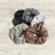 79bc536c85f Metallic Fabric Hair Scrunchies