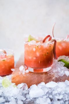 Rhubarb Passion Margaritas - They're fruity, sweet n sour, heavy on the lime, and rimmed with flaky sea salt...the best! From halfbakedharvest.com