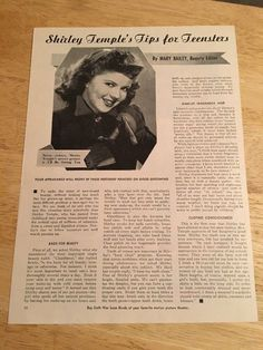 SHIRLEY TEMPLE - Vintage 1945 Article - 1 Page