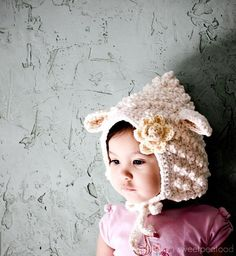 Little Lamb Hat For Her Organic Cotton  sizes by sweetpeatoadtots