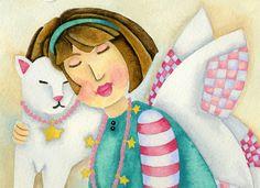 Art Print 8x8 Angel Kitty by studiopetite on Etsy