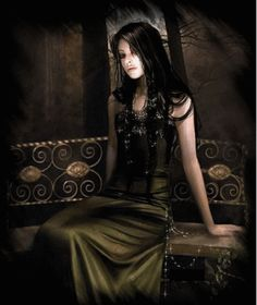 gothic gifs | pretty goth woman on bench :: Fantasy :: MyNiceProfile.com