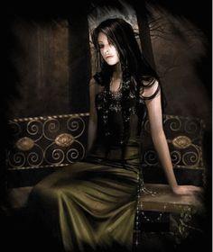 gothic gifs | pretty goth woman on bench :: Fantasy :: MyNiceProfile.com