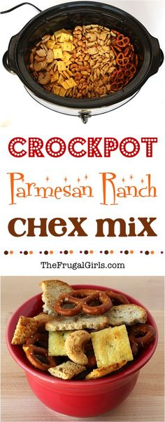 Crockpot Chex Mix Recipes make the perfect Slow Cooker party treat! Easy to make and a ridiculously delicious, addictive snack! Snack Mix Recipes, Yummy Snacks, Appetizer Recipes, Healthy Snacks, Yummy Food, Snack Mixes, Easter Recipes, Crock Pot Appetizers, Tasty