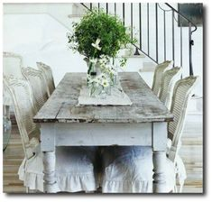 French Style Farm Table, Cording, Drapery, French Pleating, French Ticking, Ruffles, Slipcovering,  Rustic Furniture, Distressed Furniture, French Furniture,