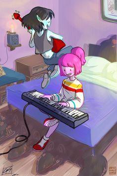 Playing music ||| Bubbline ||| Sugerless Gum ||| Marceline x Princess Bubblegum ||| Adventure Time ||| Stakes