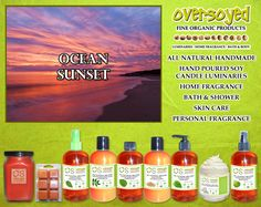 Ocean Sunset (Compare To Bath & Body Works®) Product Collection - A light blend of tropical florals mixed with hints of salty sea air. #OverSoyed #OceanSunset #Candles #HomeFragrance #BathandBody #Beauty