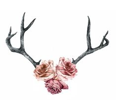 Antlers With Flowers Drawing Body art on pinterest watercolor tattoos, lotus x3cbx3eflowersx3c/bx3e