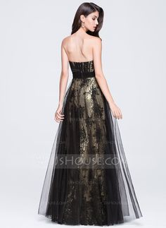 Empire Sweetheart Floor-Length Tulle Prom Dress With Ruffle (018070351) - JJsHouse
