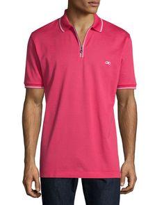 SALVATORE FERRAGAMO Short-Sleeve Zip Polo Shirt, Pink. #salvatoreferragamo #cloth #