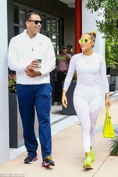 Loved up: Jennifer Lopez and Alex Rodriguez were spotted in Miami on Wednesday