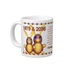 Valxart's 1975 WoodRabbit zodiac born Virgo Jumbo Mug by ValxArt.com