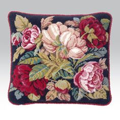 Blooming Roses Charcoal Kit needlepoint pillow - ehrmantapestry.com