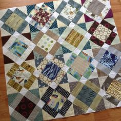 Stitching Boys Nonsense blocks for my husbands quilt by quirky granola girl, via Flickr