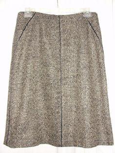 TALBOTS Beige Black Brown Nubby Wool Blend Straight Skirt Lined Side Zip Size 14 #Talbots #StraightPencil