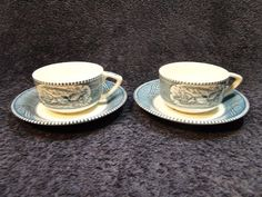 Currier Ives Royal China Blue and White Tea Cup Saucer Scroll Handles TWO RARE! #RoyalChina