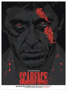Scarface Variant Poster by Justin Erickson via Phantom City Creative 5 color print, S/N by Artist. Edition of 60 available from TommyGood I realise I'm in the minority here, but Scarface is. Scarface Film, Scarface Poster, Scarface Quotes, Poster S, Movie Poster Art, Poster Maker, Cool Posters, Creative Posters, Bon Film