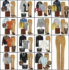 what to wear with camel colored pants Mustard Jeans Outfit, Yellow Jeans Outfit, Camel Pants Outfit, Colored Pants Outfits, Jeggings Outfit, Mustard Pants, Camel Jeans, Mustard Yellow Outfit, Khaki Skinny Jeans Outfit
