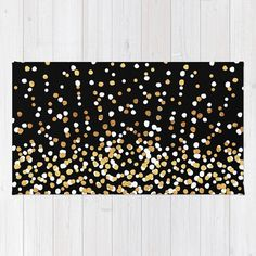 Woven Rug - Floating Dots - Gold Black and White - Bedroom Nursery Living Room