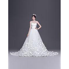 Vestido de Noiva - Branco Trapézio/Princesa Coração Cauda Corte Tule – BRL R$ 952,46