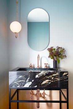 Modern art deco style mirror in bathroom with black marble vanity and sink. Ultra modern and chic Bathroom Trends, Bathroom Interior, Modern Bathroom, Marble Bathrooms, Bathroom Ideas, Luxury Bathrooms, Bathroom Mirrors, Bathroom Designs, Marble Interior