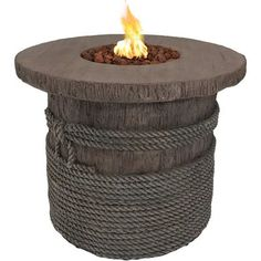 Sunnydaze Decor 29 in. Round Fiberglass Rope and Barrel Propane Gas Fire Pit Table with Lava Rocks, Brown Fireplace Kits, Outside Fireplace, Backyard Fireplace, Concrete Fireplace, Fireplace Outdoor, Fireplaces, Propane Fire Pit Table, Fire Table, Outdoor Fire