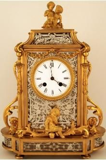 Antique French Gilt Brass And  Silvered 4-Glass Mantel Clock - French   c.1880
