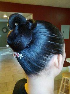 Slicked with spray Latin Hairstyles, Bun Hairstyles For Long Hair, Sleek Hairstyles, Pretty Hairstyles, Ballroom Dance Hair, Long Indian Hair, Competition Hair, Natural Hair Styles, Long Hair Styles