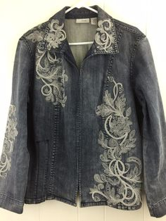 Chico's 3 Denim Blue Jean Jacket Floral Embroidered Studded Stretch Cotton L XL #Chicos #JeanJacket