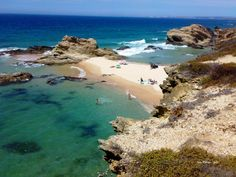 What a beautiful little beach, with sheltered swimming too! My ideal. Possibly only at low tide. I will research it. Praia da Samouqueira near Porto de Covo.