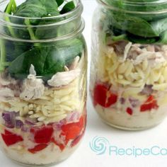 Creamy Citrus Chicken and Orzo Salad in a Jar Recipe Salads with orzo, chicken breasts, roasted red peppers, purple onion, fresh spinach, greek yogurt, orange juice, orange zest, balsamic vinegar, olive oil, salt, pepper