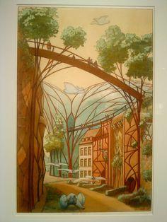 Luc Schuiten - archiborescence / olokosmon / pluiesnuhiriennes / ville / urbain / jardin / rue / trait / couleur / composition