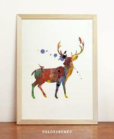 Deer Watercolor Scandinavian Nordic Mid Century Art by Colorinches