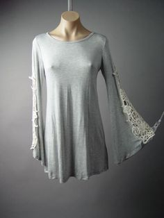 Gray Crochet Flare Sleeve Minimalist Jersey Tee T-Shirt Dress 144 mv Tunic S M L #Other #Tunic #Casual