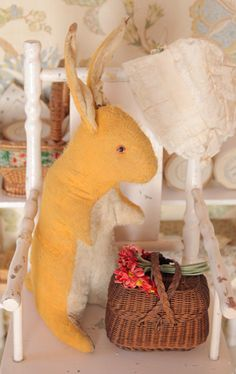 Sweet vintage fabric bunny and that mini basket is to die for!