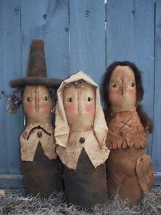 Primitive The FIRST THANKSGIVING Harvest Thanksgiving Dolls
