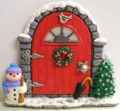Winter Fairy Door by PatsParaphernalia, porcelana fria pasta francesa masa flexible fimo gumpast fondant pasta goma figurine topper christmas navidad pascua natal xmas