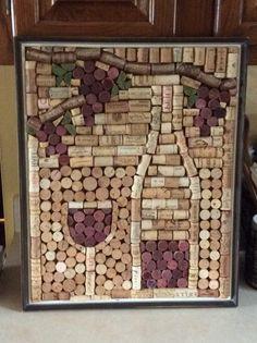 bouchon liege, tableau art thématique avec bouchons posés horizontalement et verticalement