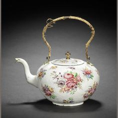 London enamel tea kettle and cover, mid 18th century.