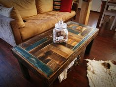 Rustic unique farmhouse style multicolor Shabby Chic Coffee Table Reclaimed wood Decor Handmade  loft end table unique blue brown by MadeFromWoodDesigns on Etsy https://www.etsy.com/listing/502512093/rustic-unique-farmhouse-style-multicolor