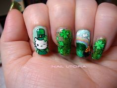 St. Patrick's Day Hello Kitty Nails :) |MUST HAVE !!!!!!!!!!!!!!!!!!