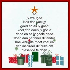 Afrikaanse Inspirerende Gedagtes & Wyshede: As jy vreugde kies dan voel jy goed en as jy goed . Christmas Messages, Christmas Quotes, Christmas And New Year, All Things Christmas, Kids Christmas, Evening Greetings, Afrikaanse Quotes, Scripture Verses, Religious Quotes