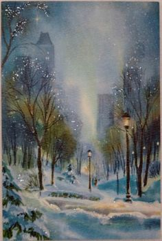 45 Best Painting landscape Winter Snow Scenes Ideas - Page 33 of 45 - Veguci Vintage Christmas Images, Old Christmas, Old Fashioned Christmas, Christmas Scenes, Retro Christmas, Christmas Pictures, Vintage Holiday, Christmas Holidays, Christmas Glitter