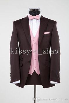 Wholesale Men Wedding Suits - Buy 2014 Men's Business Suits Brown Suit Ticket Pocket Groom Tuxedos Peak Lapel Groomsmen Men Wedding SuitsJacket+Pants+Bowtie+VestFree Ship, $84.73 | DHgate
