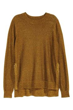 Fine-knit jumper: CONSCIOUS. Fine-knit jumper containing some wool with a zip in the sides and ribbing around the neckline, cuffs and hem. Longer at the back. The jumper is made partly from recycled polyester.